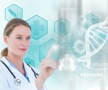 Uma profissional da saúde tocando em um hexágono que projeta uma molécula de DNA